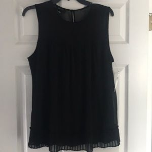 AB NWT Studio Dressy Black Top w pleated Ruffle L